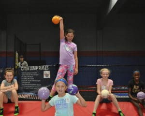 Kids playing dodgeball at the Fly Zone.