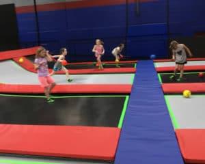 Children playing dodgeball.
