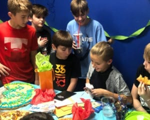 Kids celebrating a birthday party.