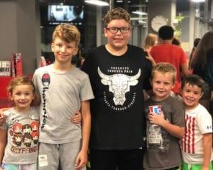 Kids posing at Youth Night.